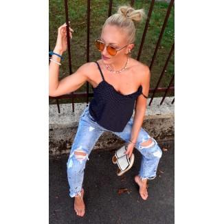 Jeans boy-friend chiaro con strappi | Roses