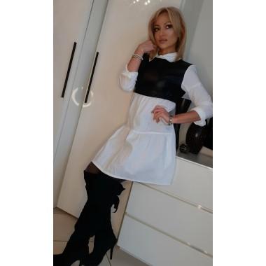 Mini abito in cotone e similpelle nero  
