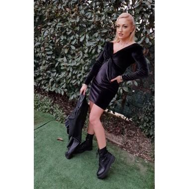 Mini abito in ciniglia nero | Veridiana