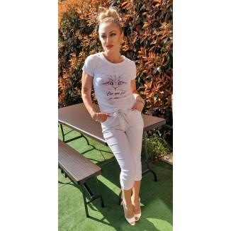 Pantalone a pinocchietto bianco | Julee