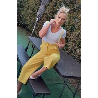 Pantaloni a campana con bretelle | Bianca