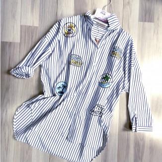 Camicia da donna rigata con pacthwork | SeeMe
