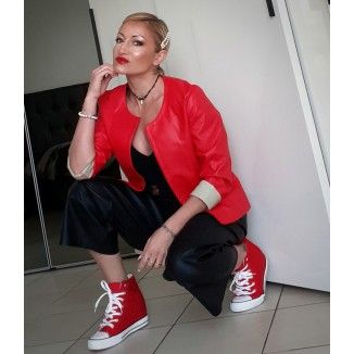 Giacca in ecopelle rossa | Reddy