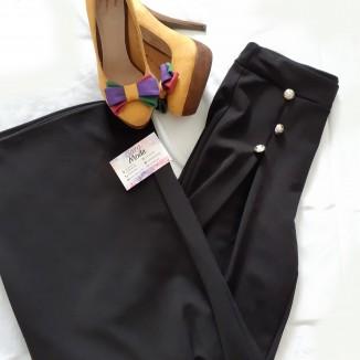 Pantalone elegante nero con 3 bottoni |