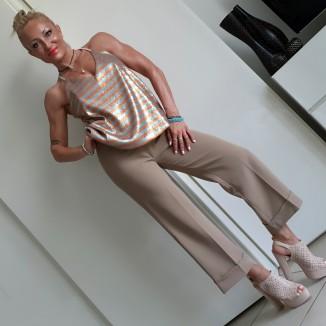 Pantalone beige a campana | Lella